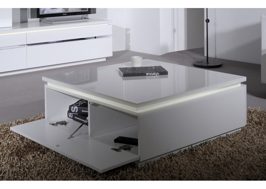 table basse blanche laqu e avec clairage kela. Black Bedroom Furniture Sets. Home Design Ideas