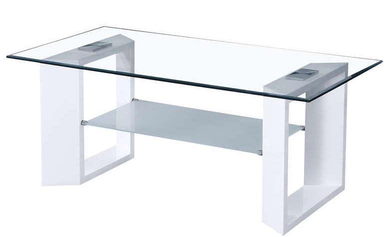 Table basse blanche plateau verre tremp kazi - Plateau verre trempe ...