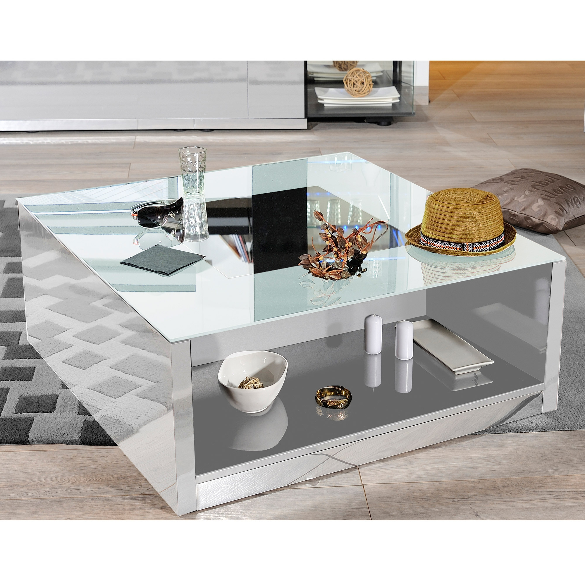 table basse laqu e blanche kengo. Black Bedroom Furniture Sets. Home Design Ideas
