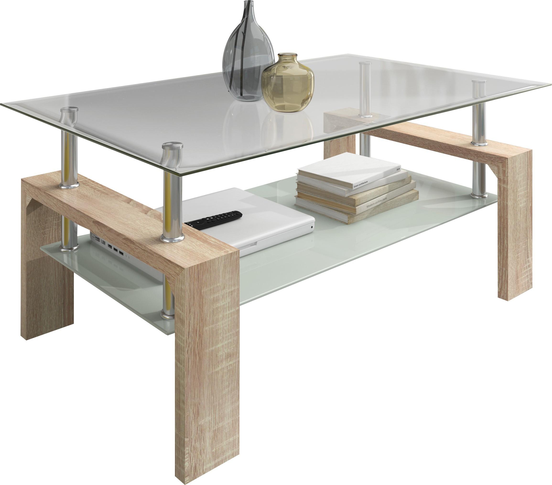 Table basse bois naturel et verre tremp kari - Table basse verre trempe ...