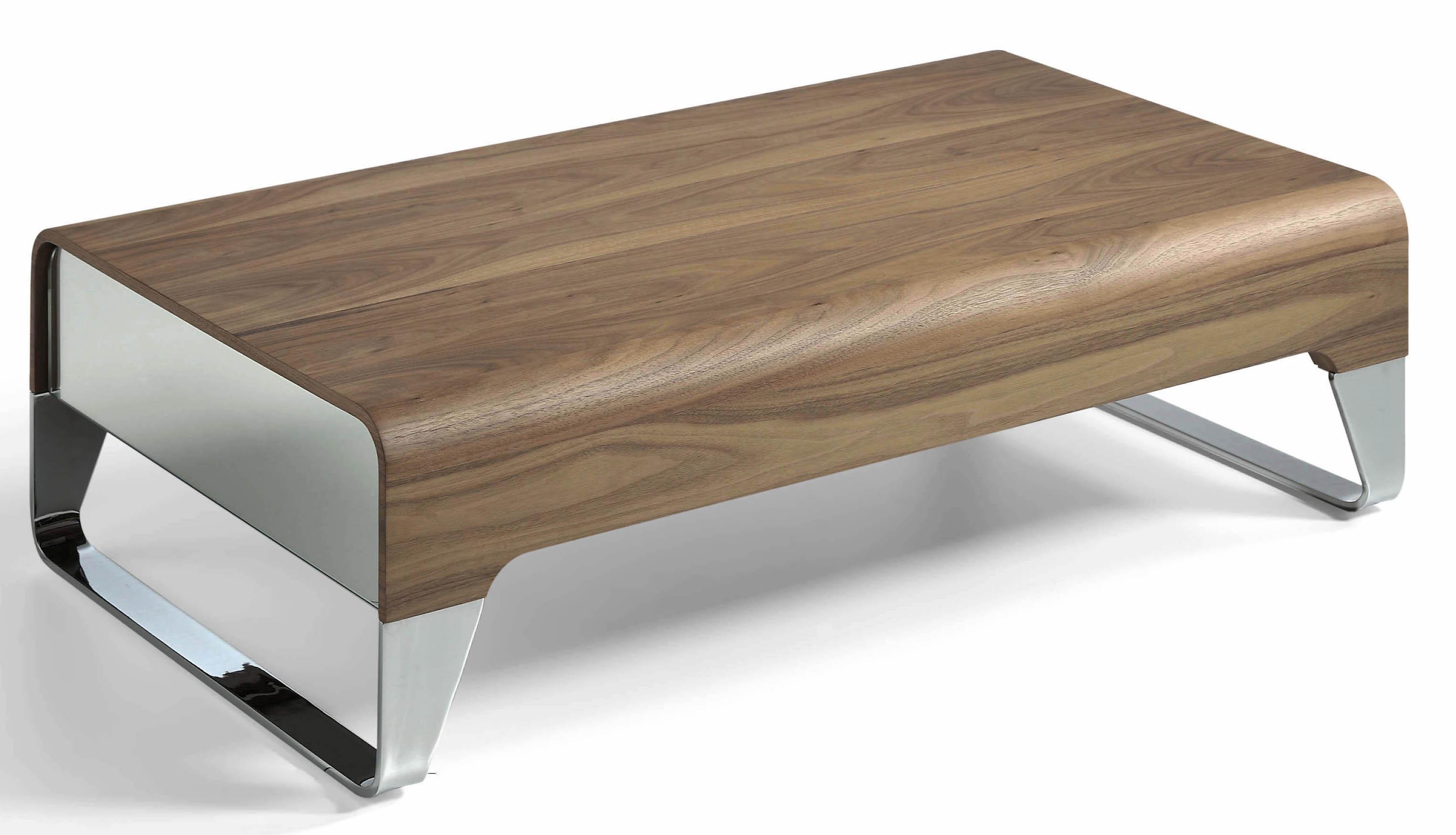 Table basse bois plaqu noyer et acier inoxydable louna - Table basse acier bois ...