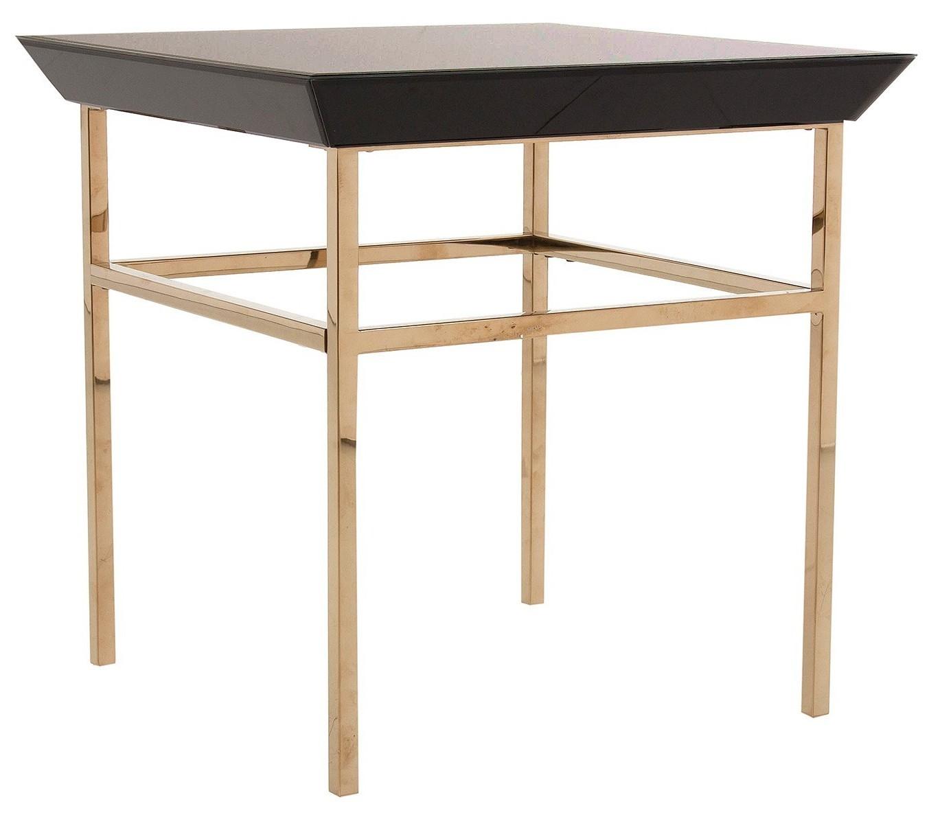 Table d 39 appoint carr e art d co bois verre et acier noir - Table d appoint carree ...