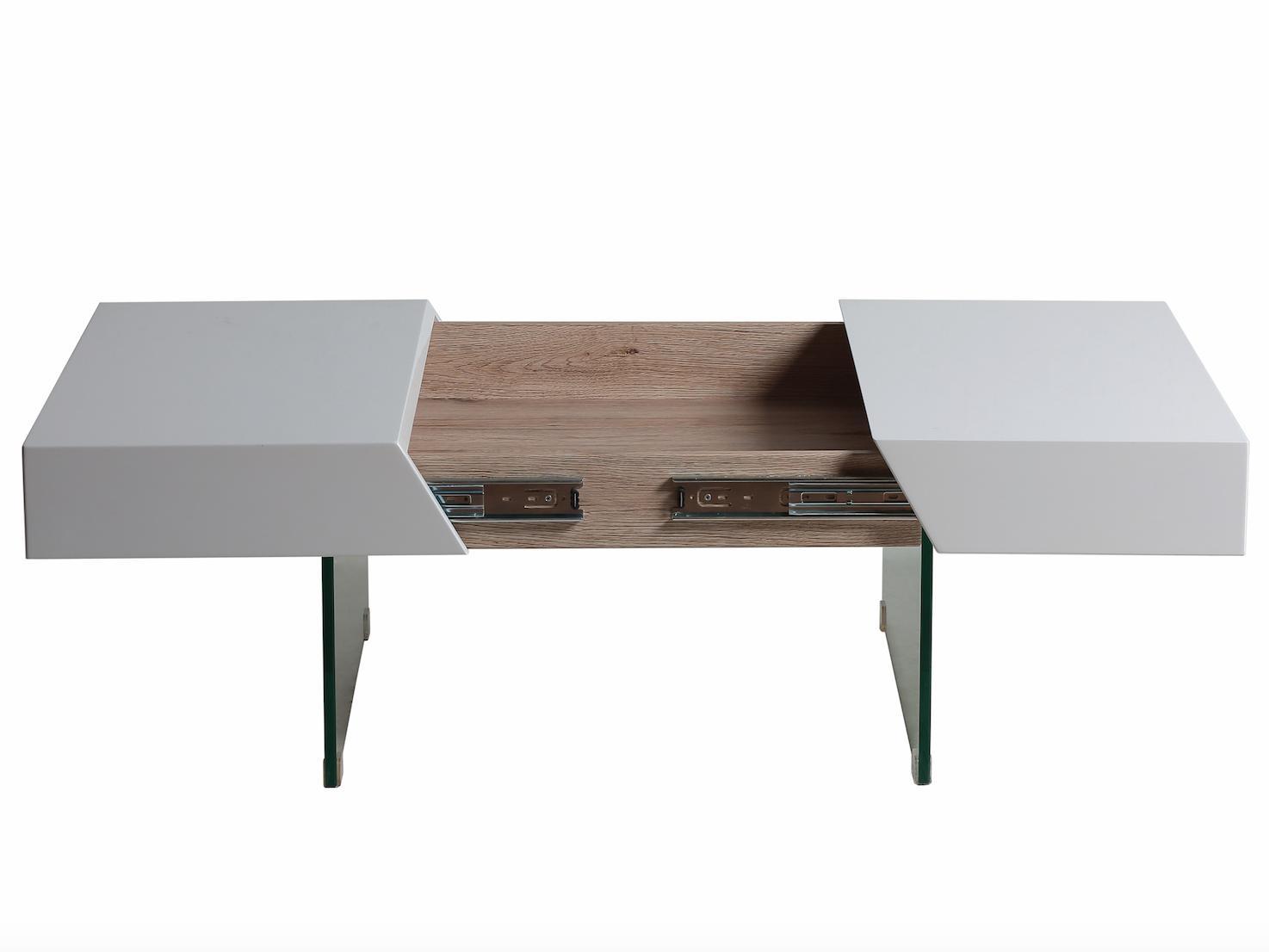 Table basse carr e blanc et naturel pozle - Table basse carree blanc ...