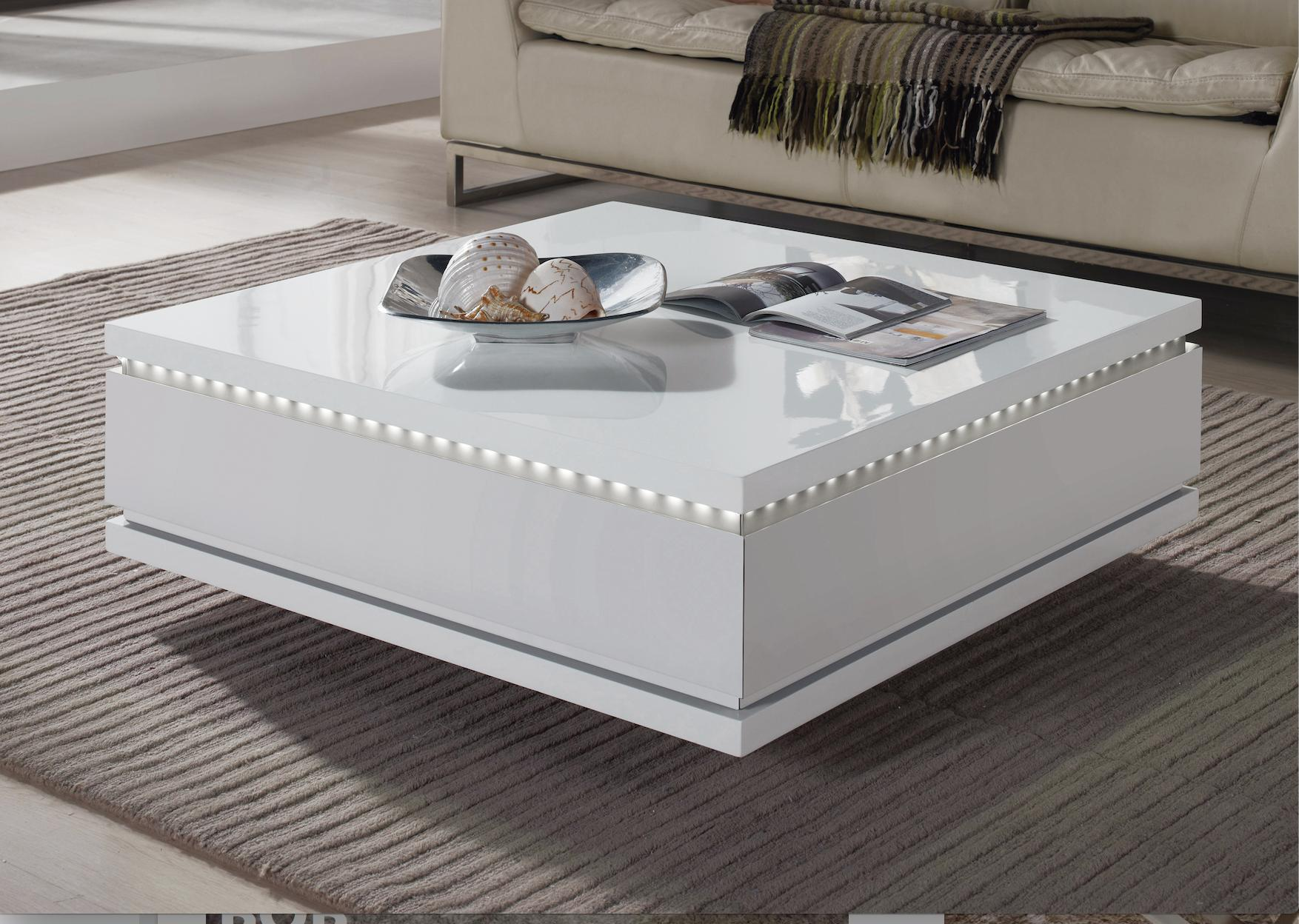 table basse carr e tiroirs laqu blanc led bozy. Black Bedroom Furniture Sets. Home Design Ideas