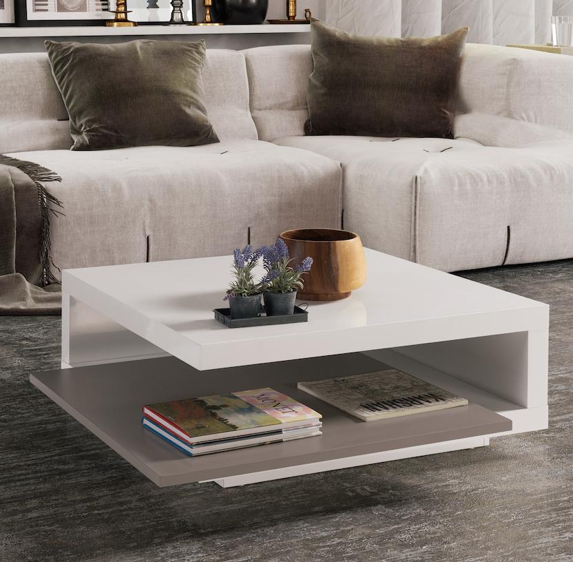 table basse carr e blanche et grise modulable key. Black Bedroom Furniture Sets. Home Design Ideas