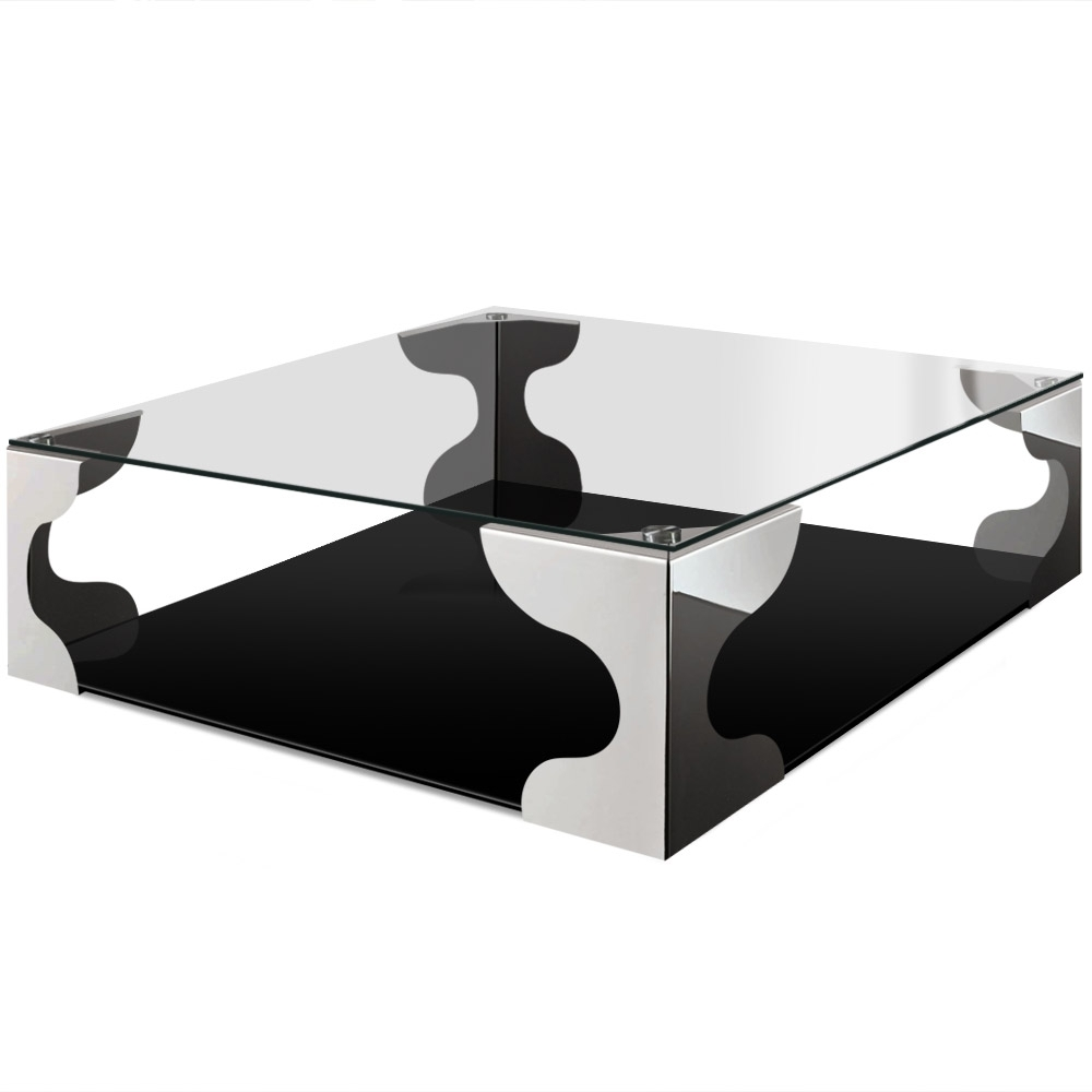 Table basse carr e verre et m tal chrom for Piscine carree miroir