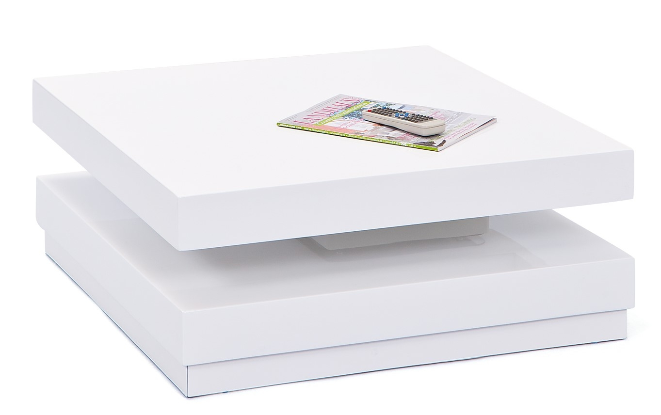 Table basse carr e laqu blanc pivotante duomo - Table sejour blanc laque ...