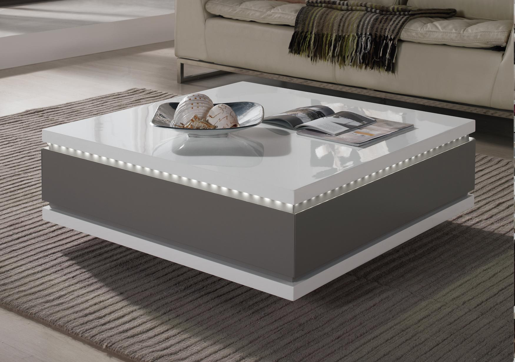 table basse carr e tiroirs laqu gris taupe led bozy. Black Bedroom Furniture Sets. Home Design Ideas