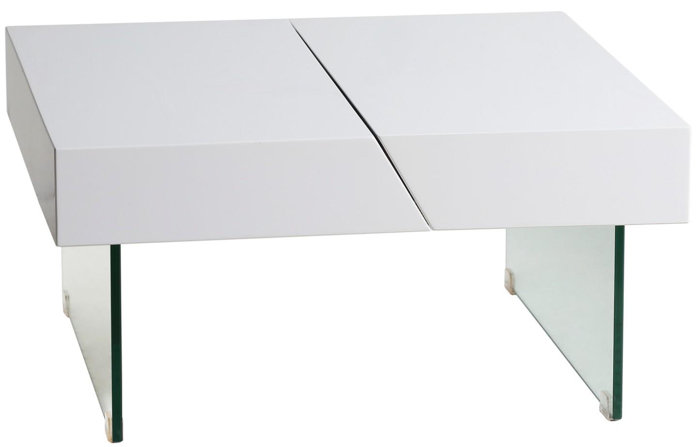 table basse carr e modulable bois laqu blanc et verre kim. Black Bedroom Furniture Sets. Home Design Ideas