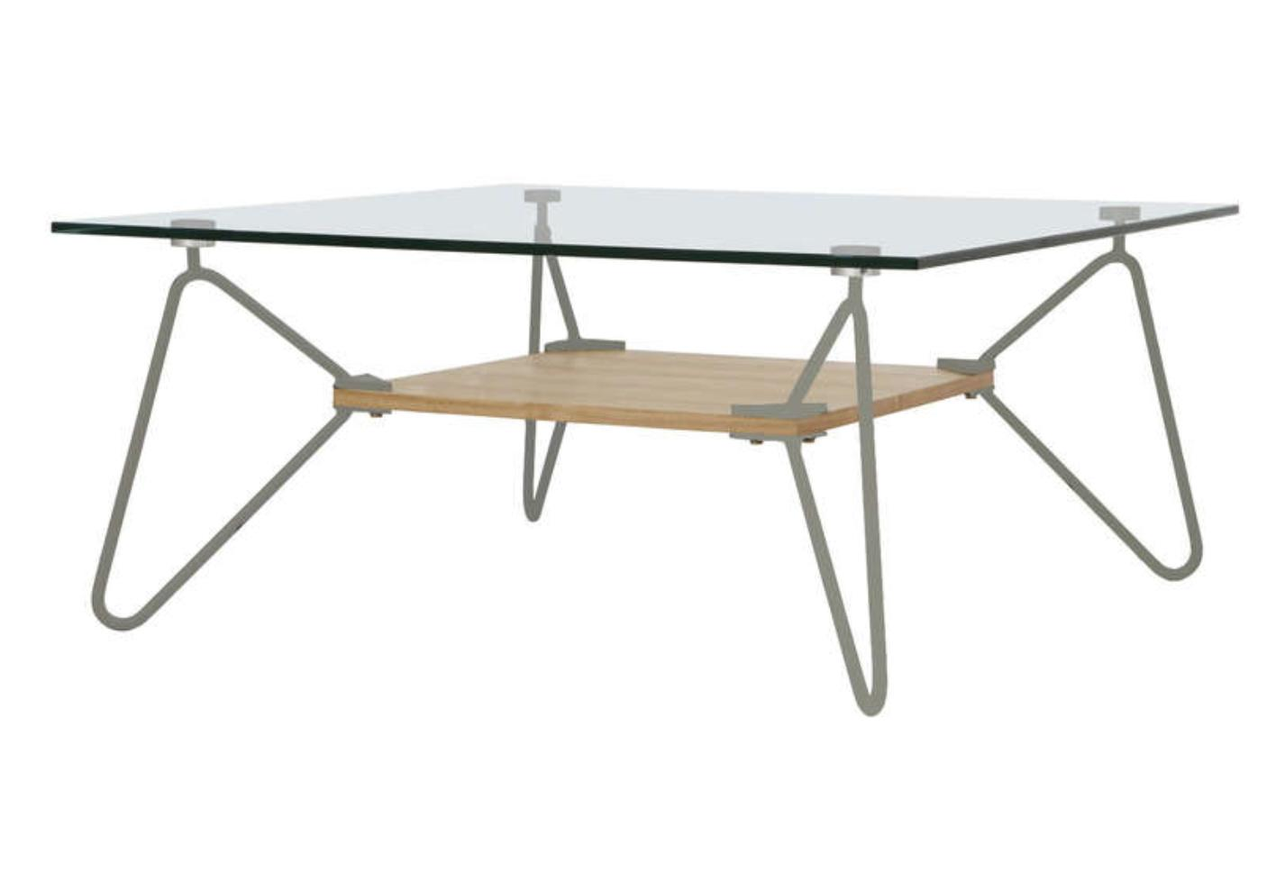 Table basse carr e verre et m tal gris mobus - Table basse carree bois gris ...
