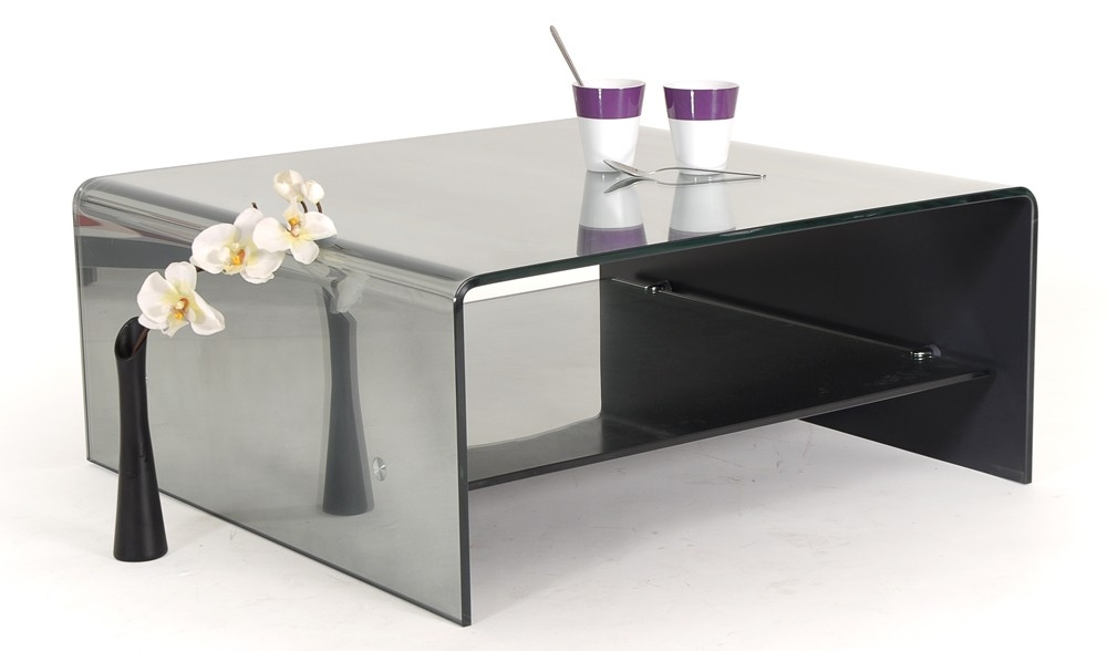 Les tendances table basse carr e verre miroir tremp vitro - Table basse en verre trempe ...