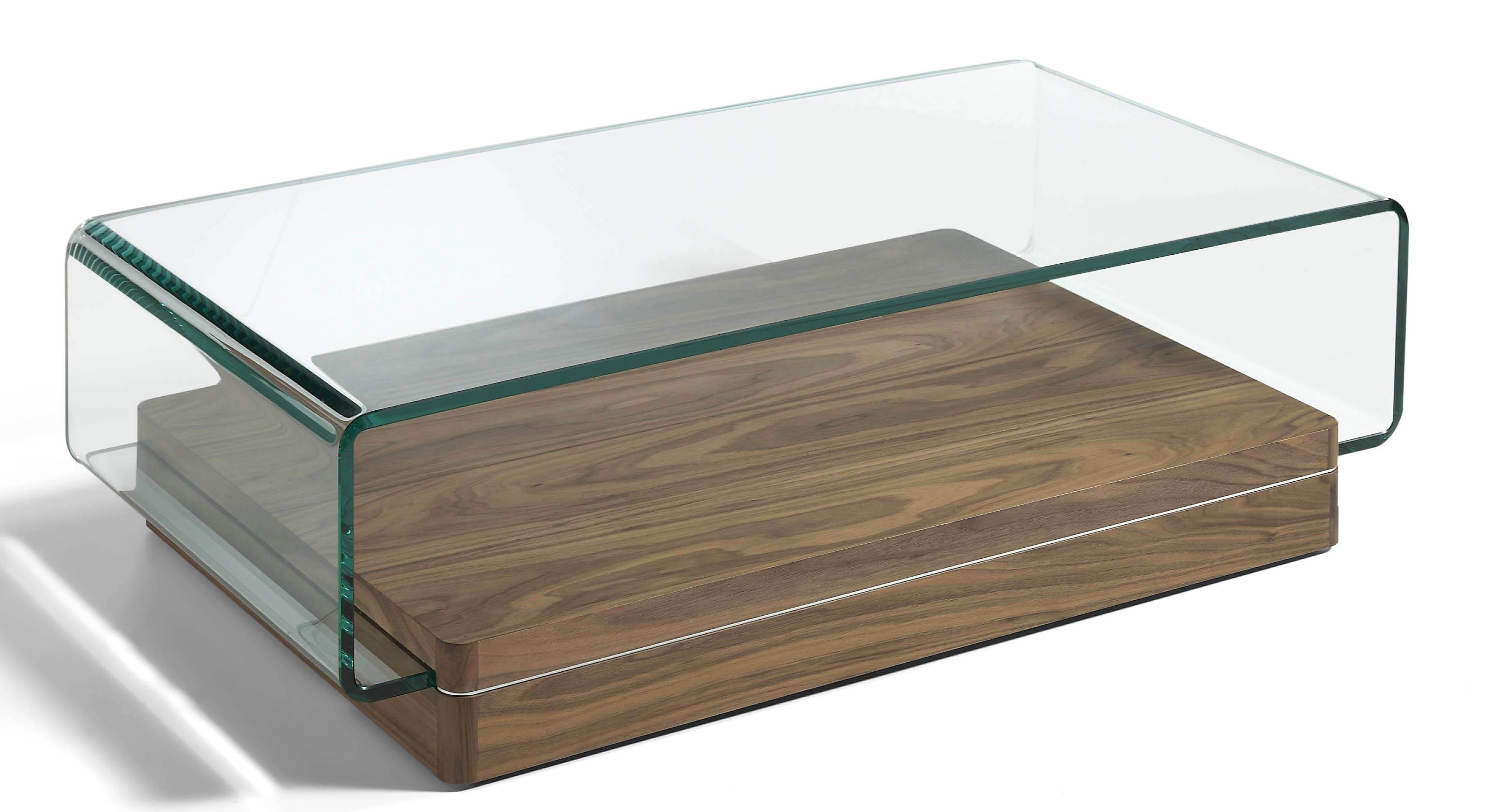 Table basse contemporaine bois plaqu noyer et verre - Table basse bois contemporaine ...