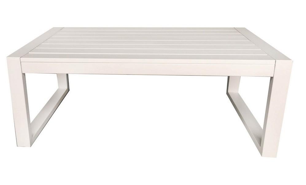 Table basse de jardin rectangulaire métal blanc Senia