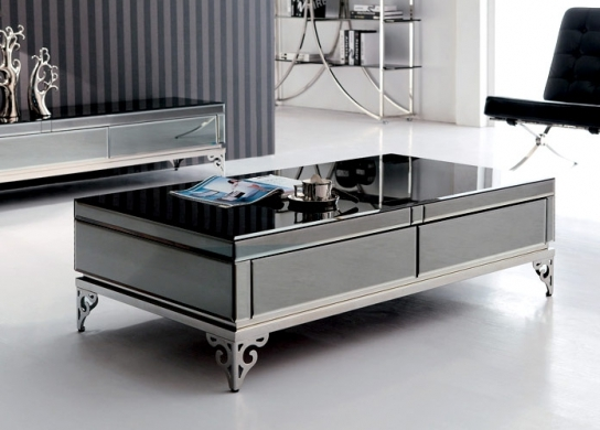 table basse verre et m tal vicenzi. Black Bedroom Furniture Sets. Home Design Ideas