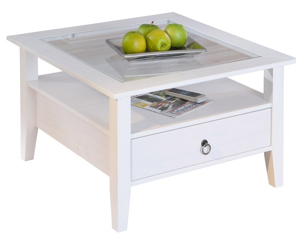 Table basse blanche pin massif provence 1 for Table basse blanche en bois