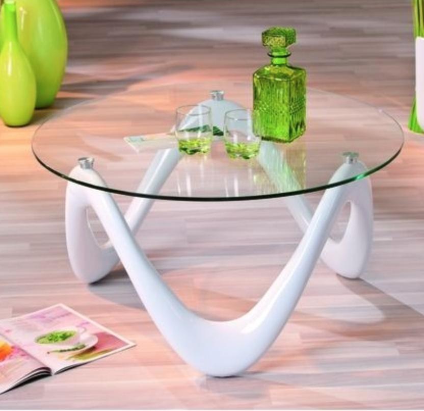table basse blanc laqu et verre tremp serpa. Black Bedroom Furniture Sets. Home Design Ideas