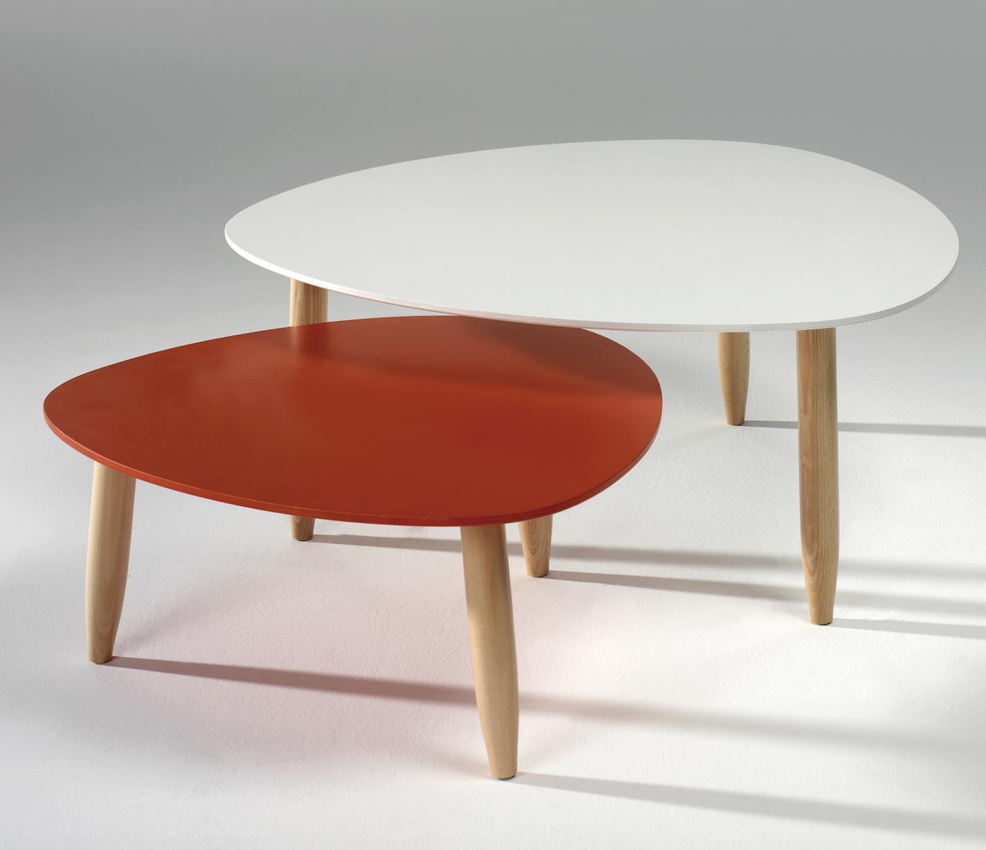 table basse gigogne laqu e blanc et rouge egon. Black Bedroom Furniture Sets. Home Design Ideas
