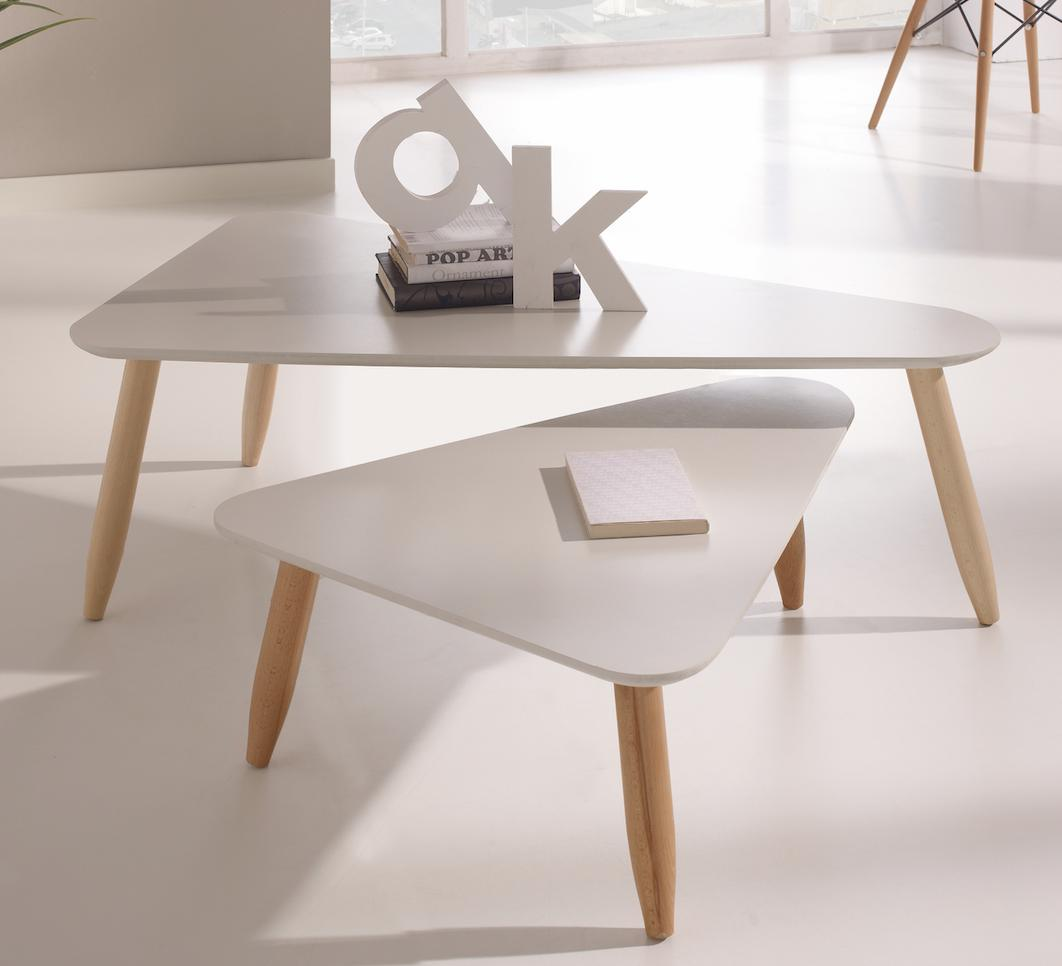 table basse gigogne triangulaire laqu e blanc egon. Black Bedroom Furniture Sets. Home Design Ideas