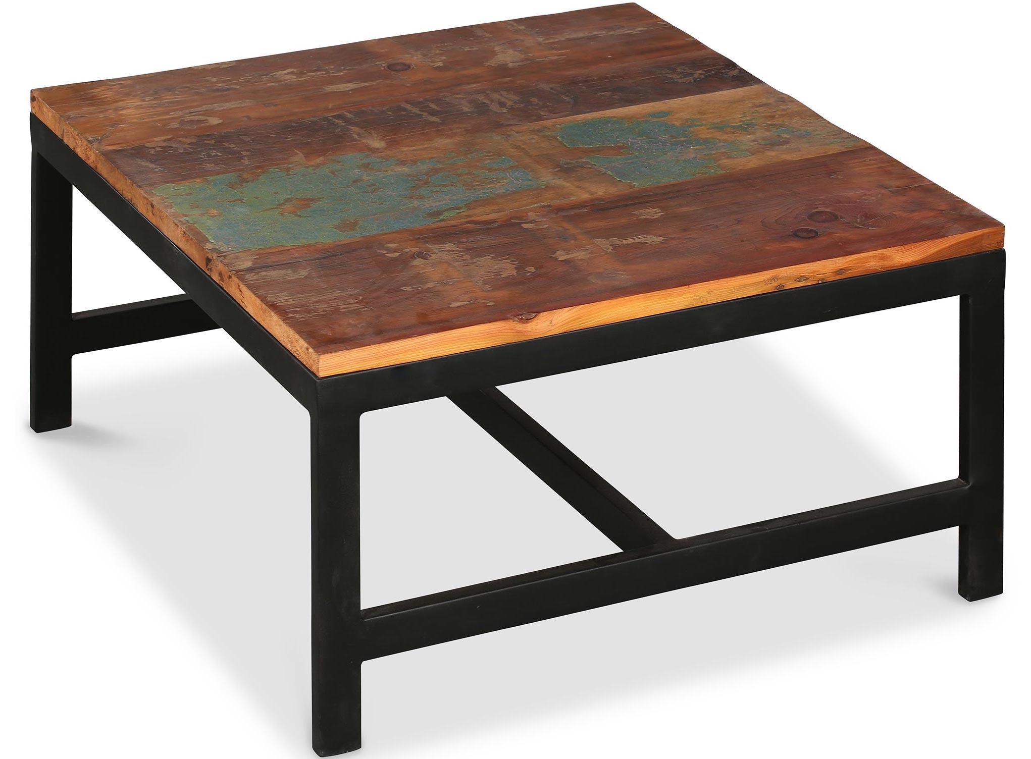table basse industriel acier et bois manka. Black Bedroom Furniture Sets. Home Design Ideas