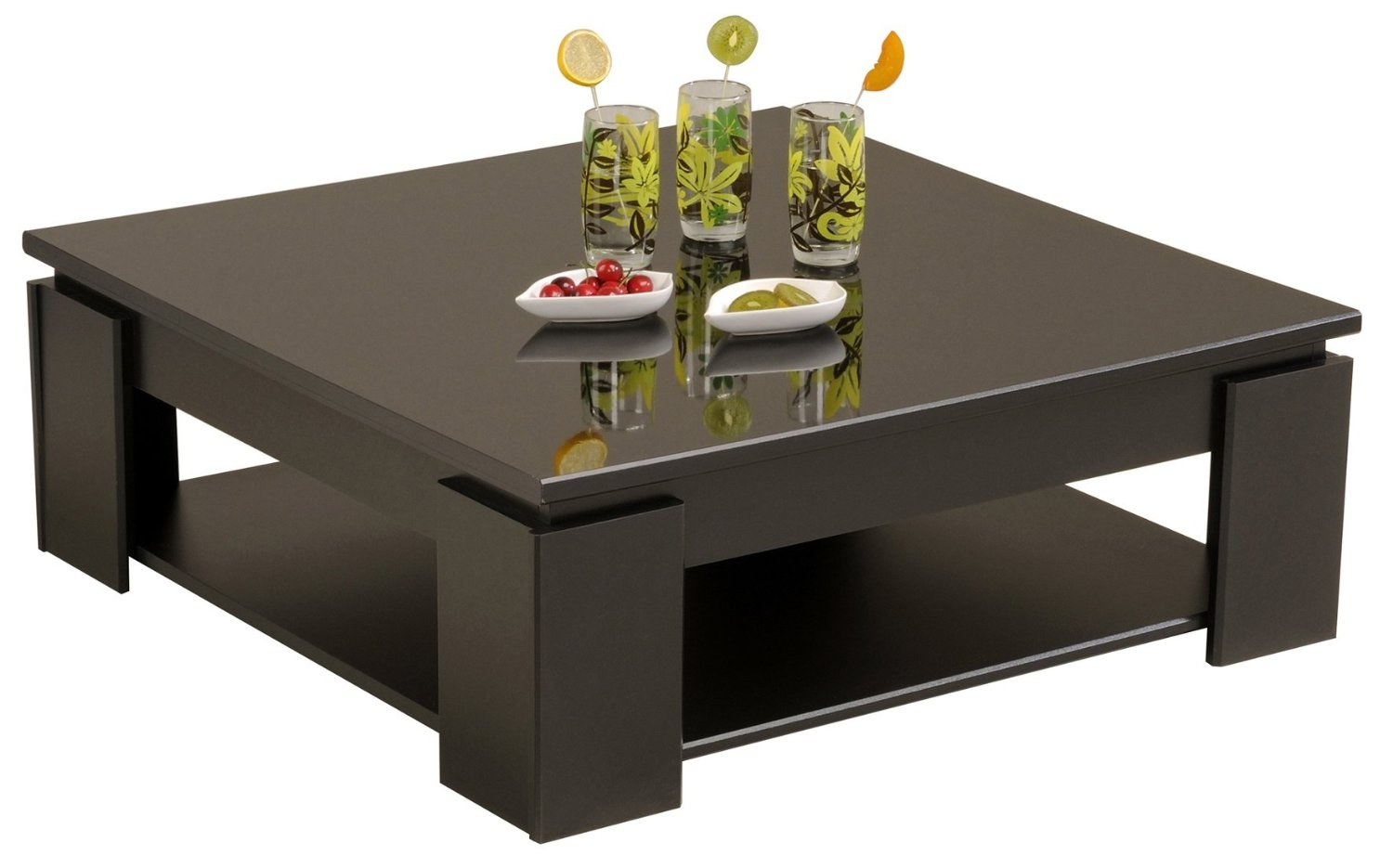 Table basse noire carr e tifany - Table de sejour carree ...