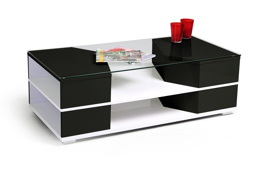 Table basse laqu e blanc et noir aspen for Table basse blanc et noir