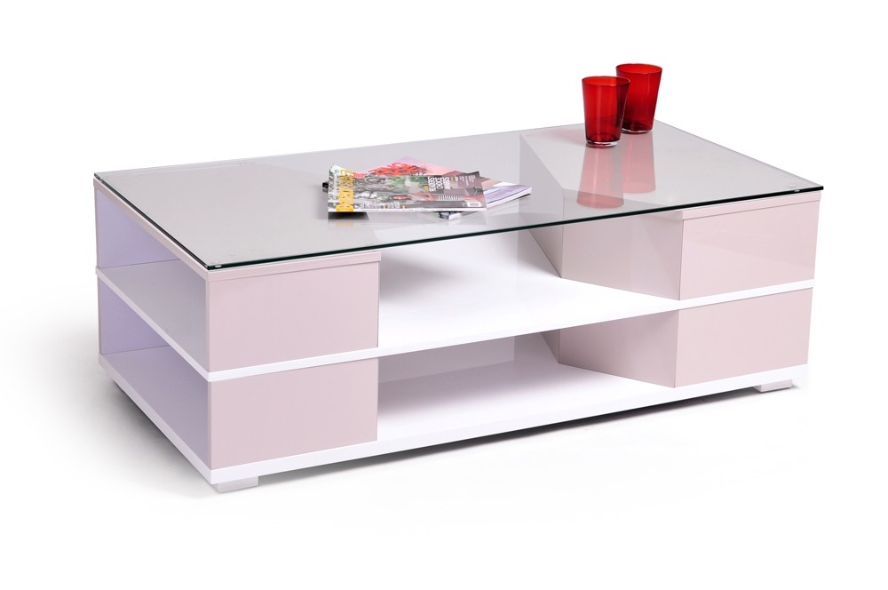 Table basse laqu e blanc et taupe aspen for Table basse laquee blanc pas cher