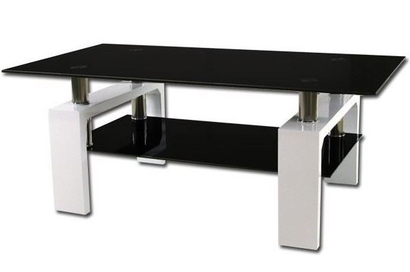 Table basse laqu e blanc et verre tremp noir kari - Table basse verre trempe noir ...