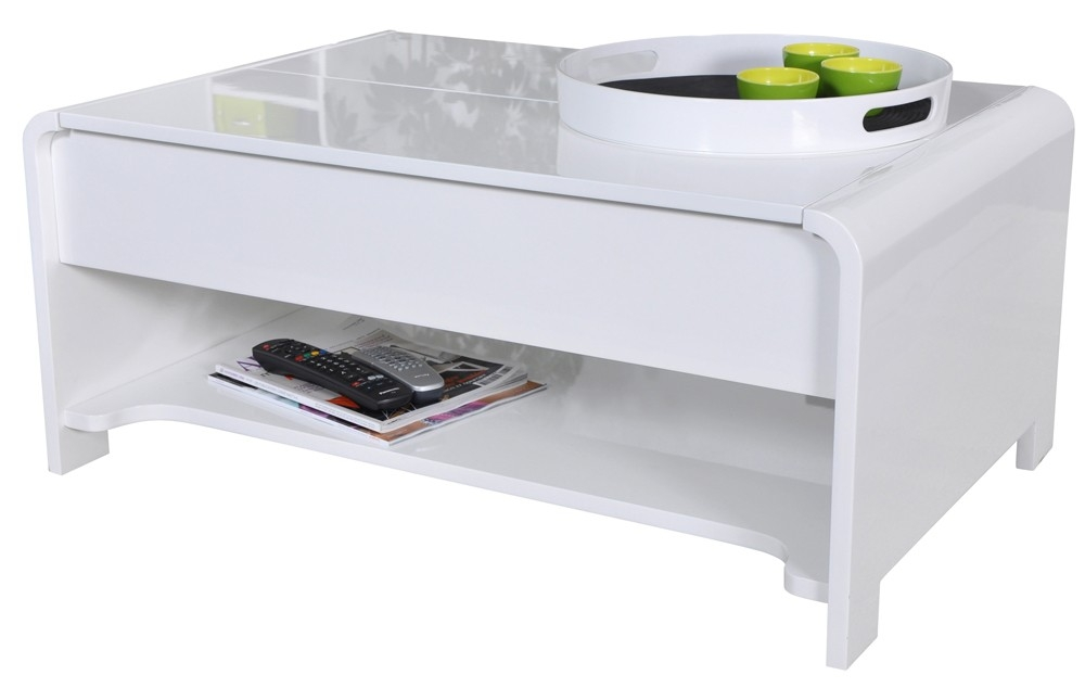 Table basse laqu e blanc plateau relevable franco for Table a repasser largeur 52