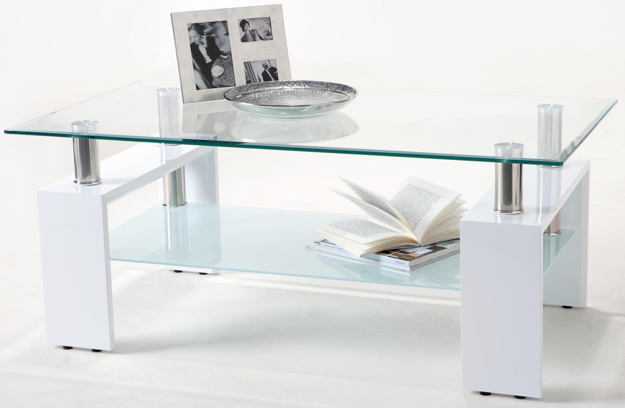 Table basse laqu e blanche et verre tremp kari - Table basse verre trempe ...