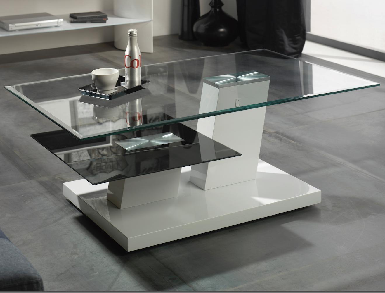 Table basse laqu e blanche et verre tremp noir mode - Table blanche laquee ...