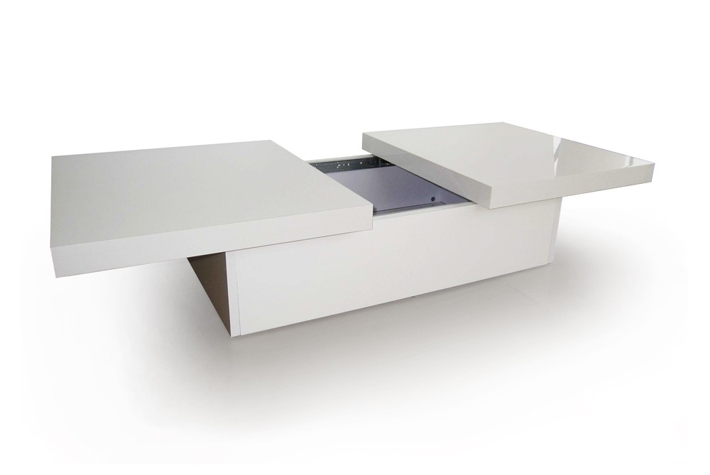 Table basse laqu e blanche tango - Table basse gigogne blanche ...