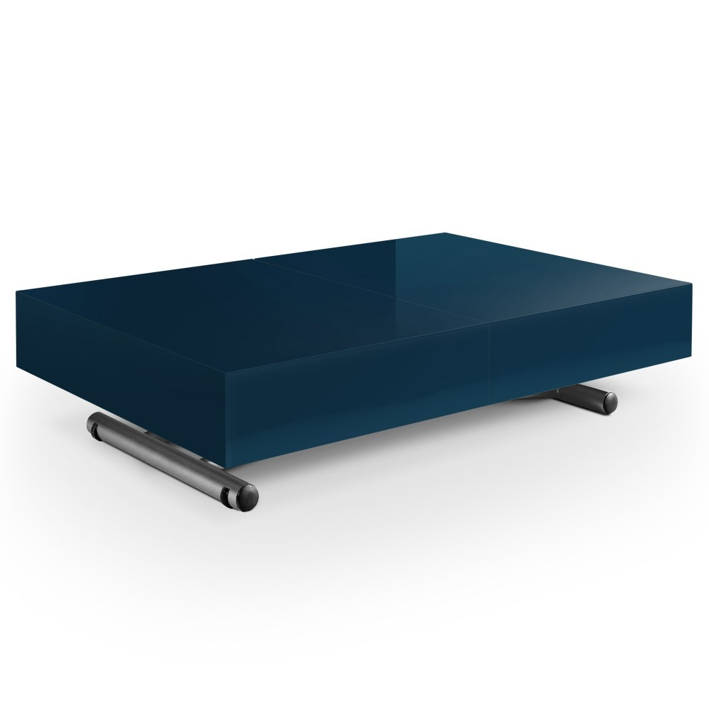 table basse laqu e bleu relevable casy. Black Bedroom Furniture Sets. Home Design Ideas