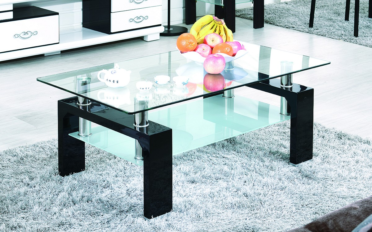 table basse laqu e noir et verre tremp kari. Black Bedroom Furniture Sets. Home Design Ideas