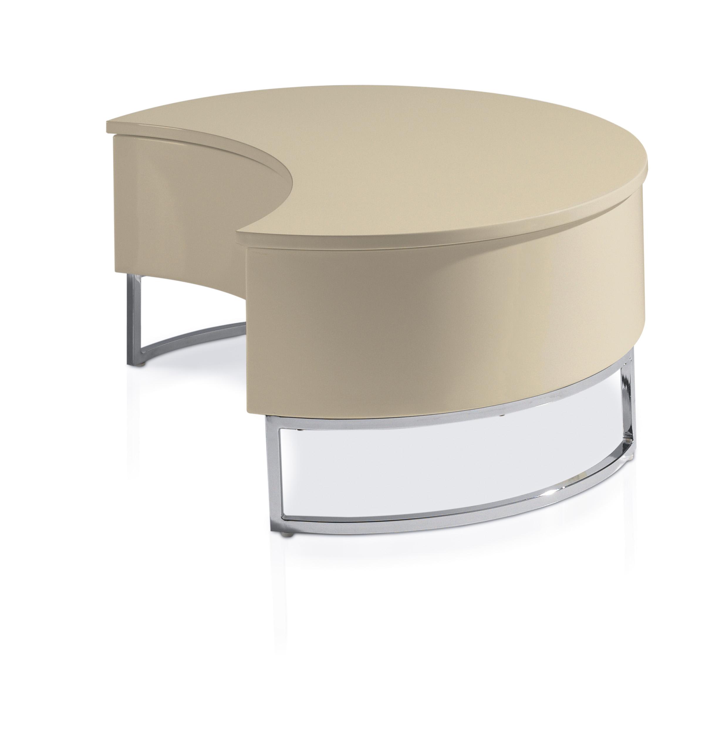 table basse laqu e recevable cr me pied acier chrom luna. Black Bedroom Furniture Sets. Home Design Ideas