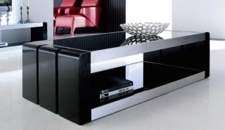 table basse laquée noir tressy - lestendances.fr