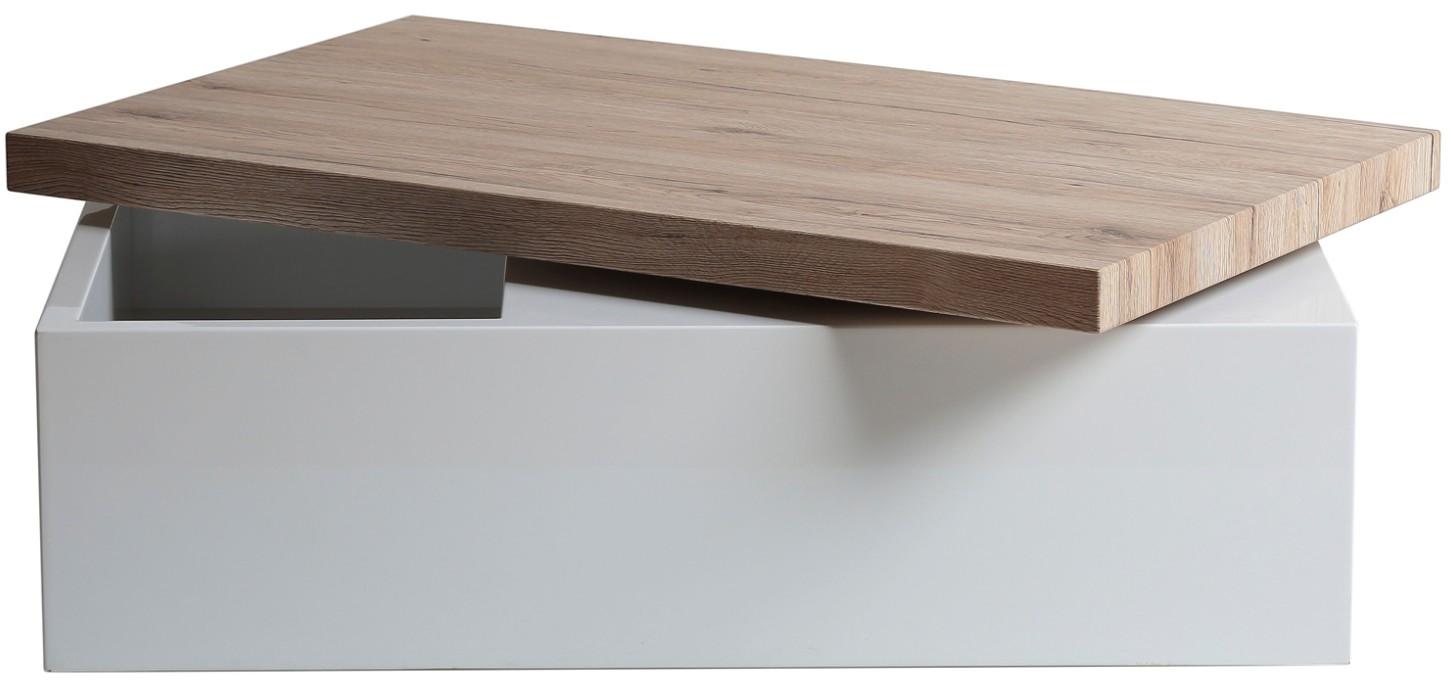 table basse modulable ch ne clair et bois laqu blanc kim. Black Bedroom Furniture Sets. Home Design Ideas