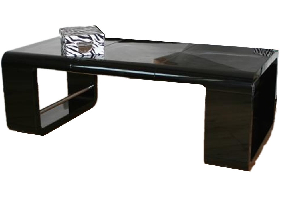 table basse noire brillant avec rallonge bonk. Black Bedroom Furniture Sets. Home Design Ideas