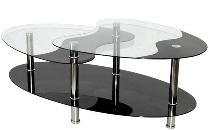 table basse oval plateau verre tremp noir et transparent loza. Black Bedroom Furniture Sets. Home Design Ideas