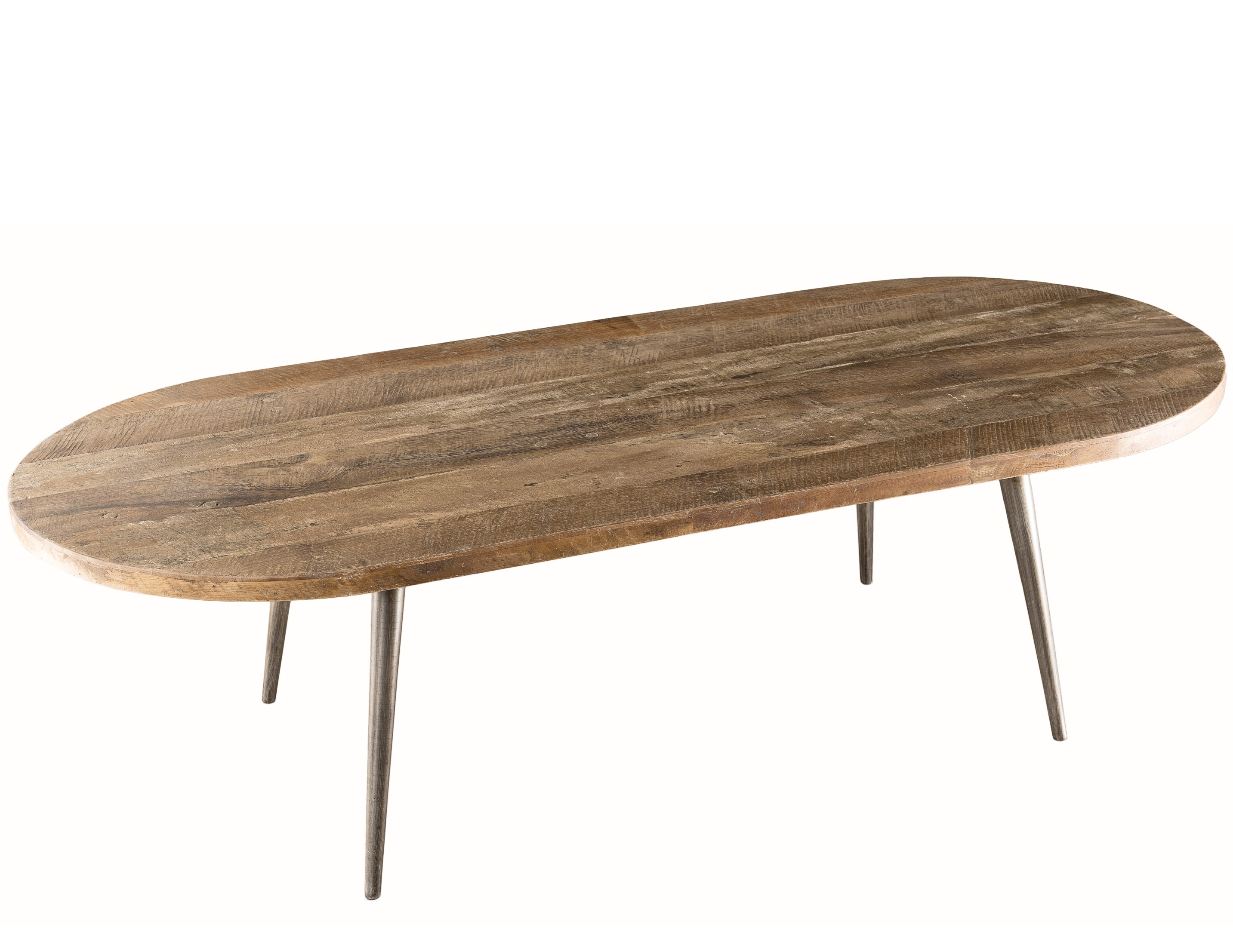 Table basse ovale bois massif acacia et m tal panka for Table basse acacia massif