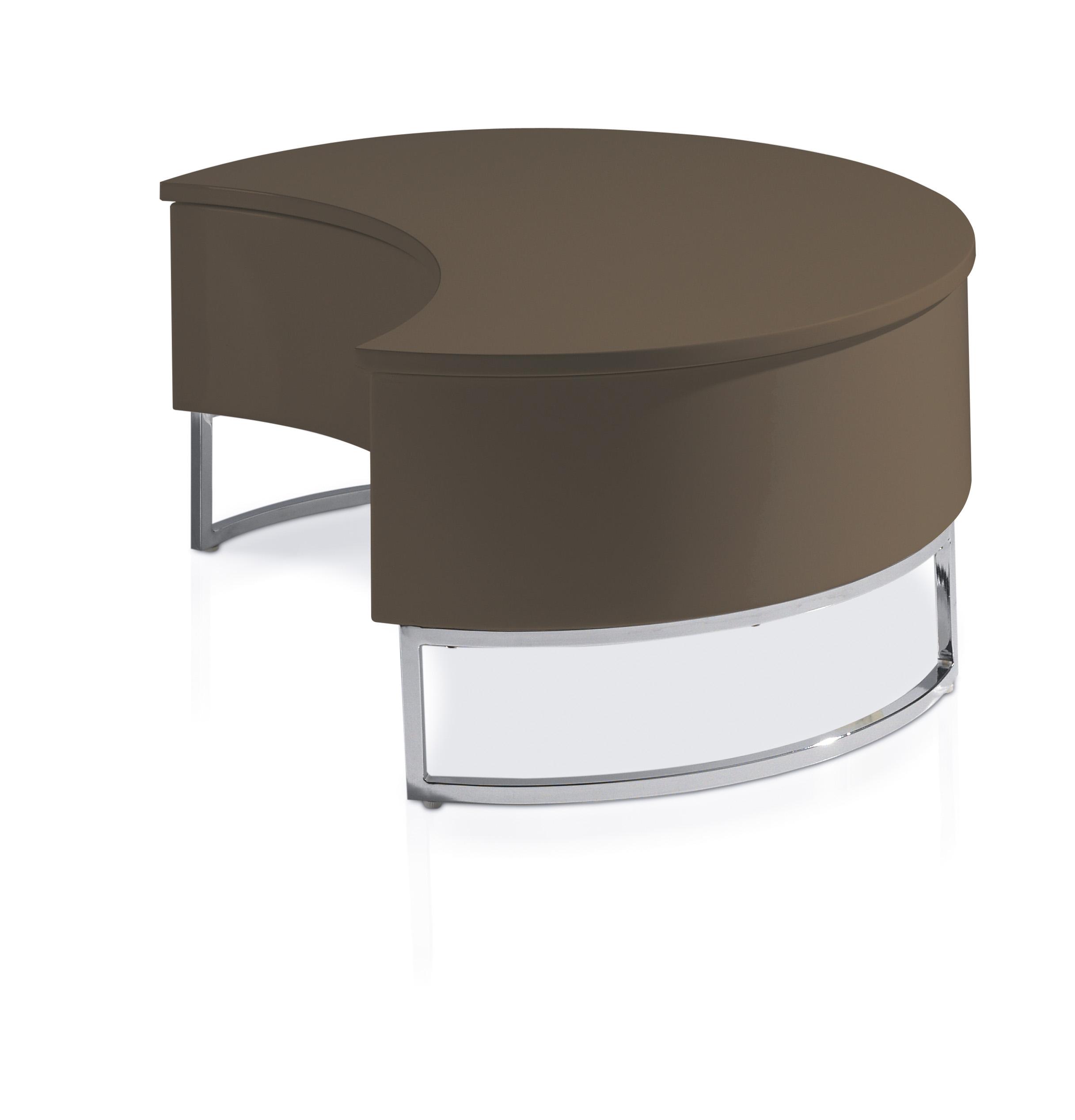 Table basse relevable laqu e marron pied acier chrom luna - Table basse marron ...