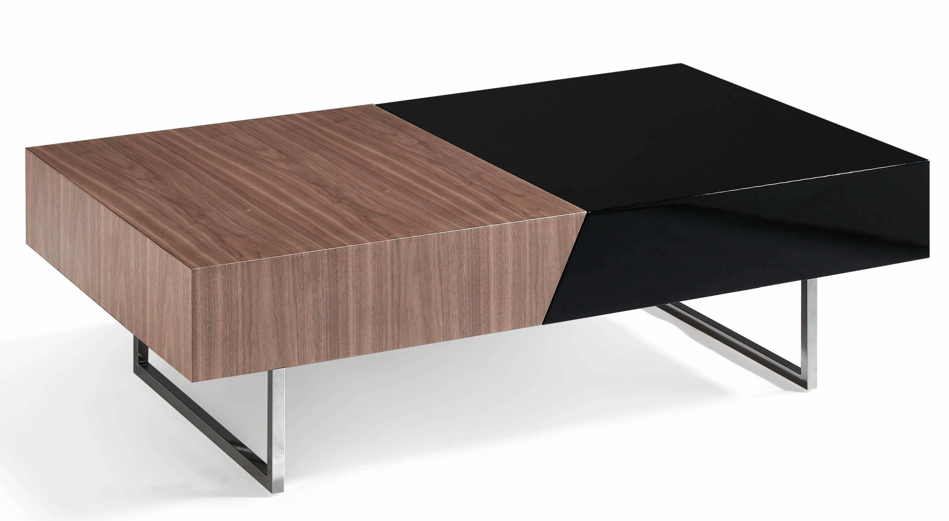 table basse plateau coulissant bois noyer et laqu roma couleur blanc. Black Bedroom Furniture Sets. Home Design Ideas