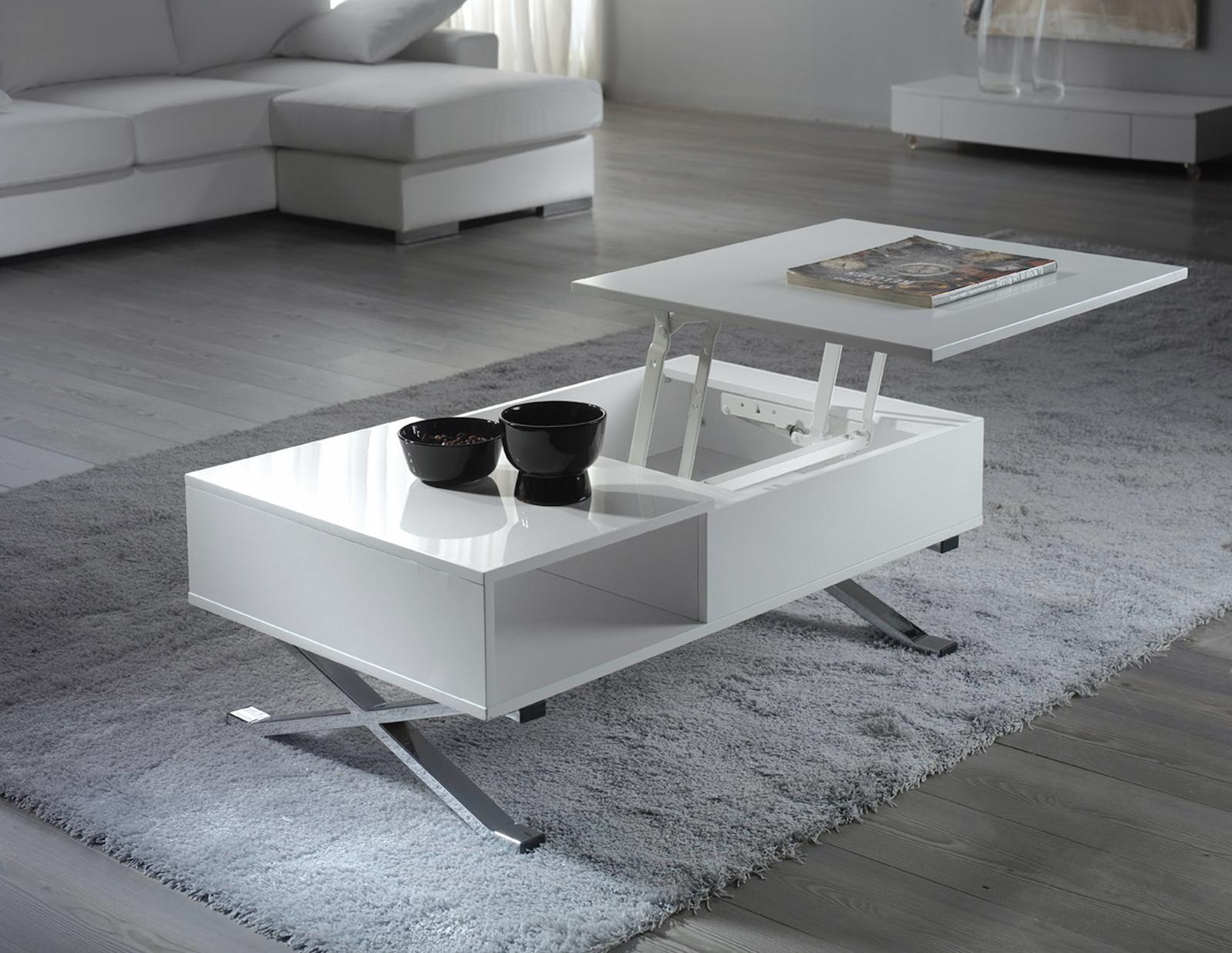 table basse plateau relevable blanc mura. Black Bedroom Furniture Sets. Home Design Ideas