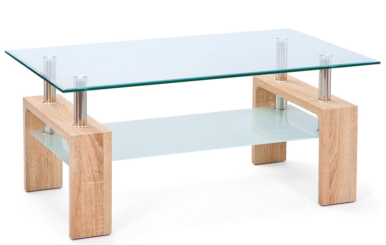 table basse rectangulaire en verre ch ne sonoma eva. Black Bedroom Furniture Sets. Home Design Ideas