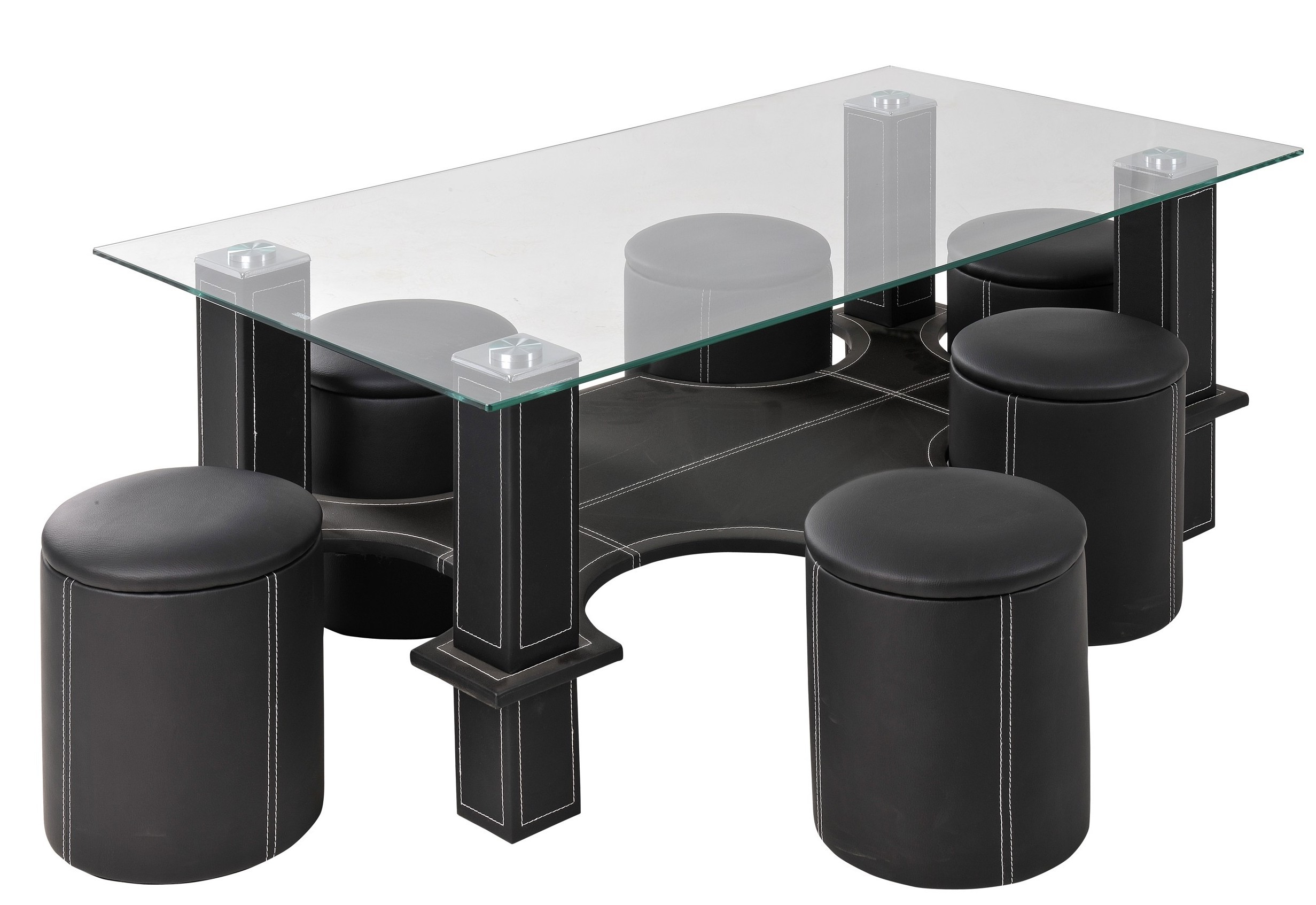 table basse rectangulaire et 6 poufs simili noir kuadri. Black Bedroom Furniture Sets. Home Design Ideas