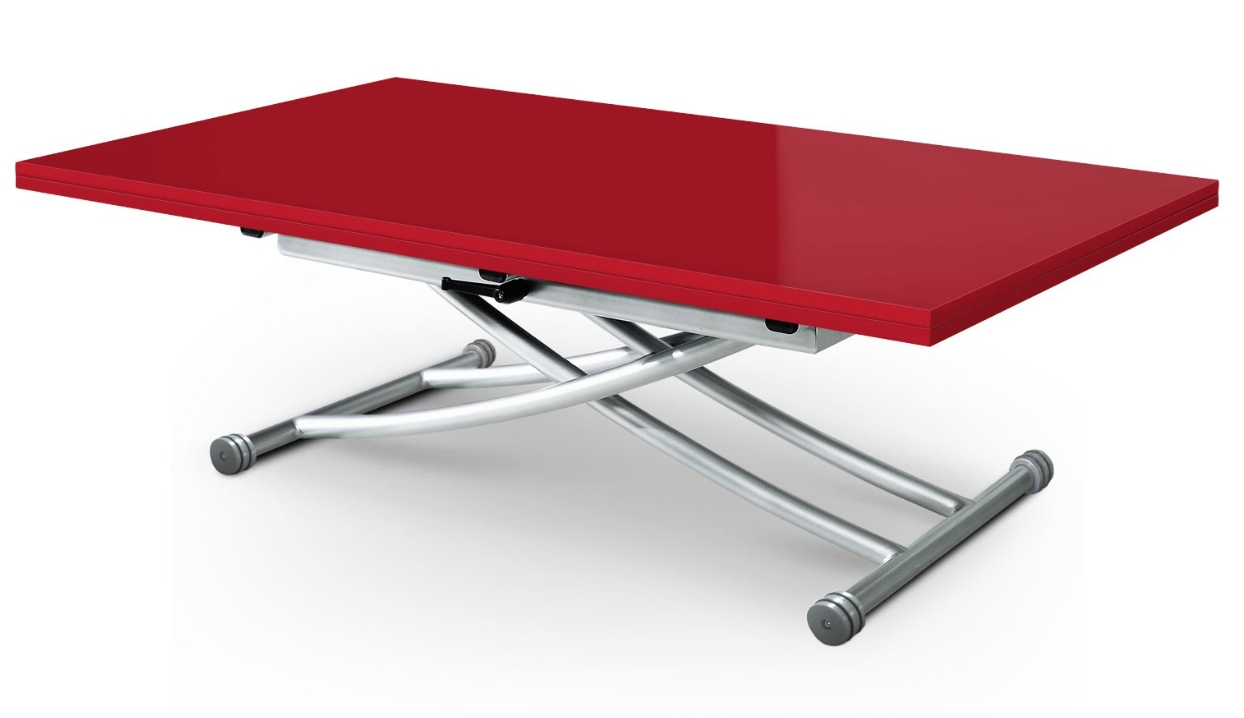 Table basse relevable laqu e rouge kazer 150 - Table basse relevable rouge ...