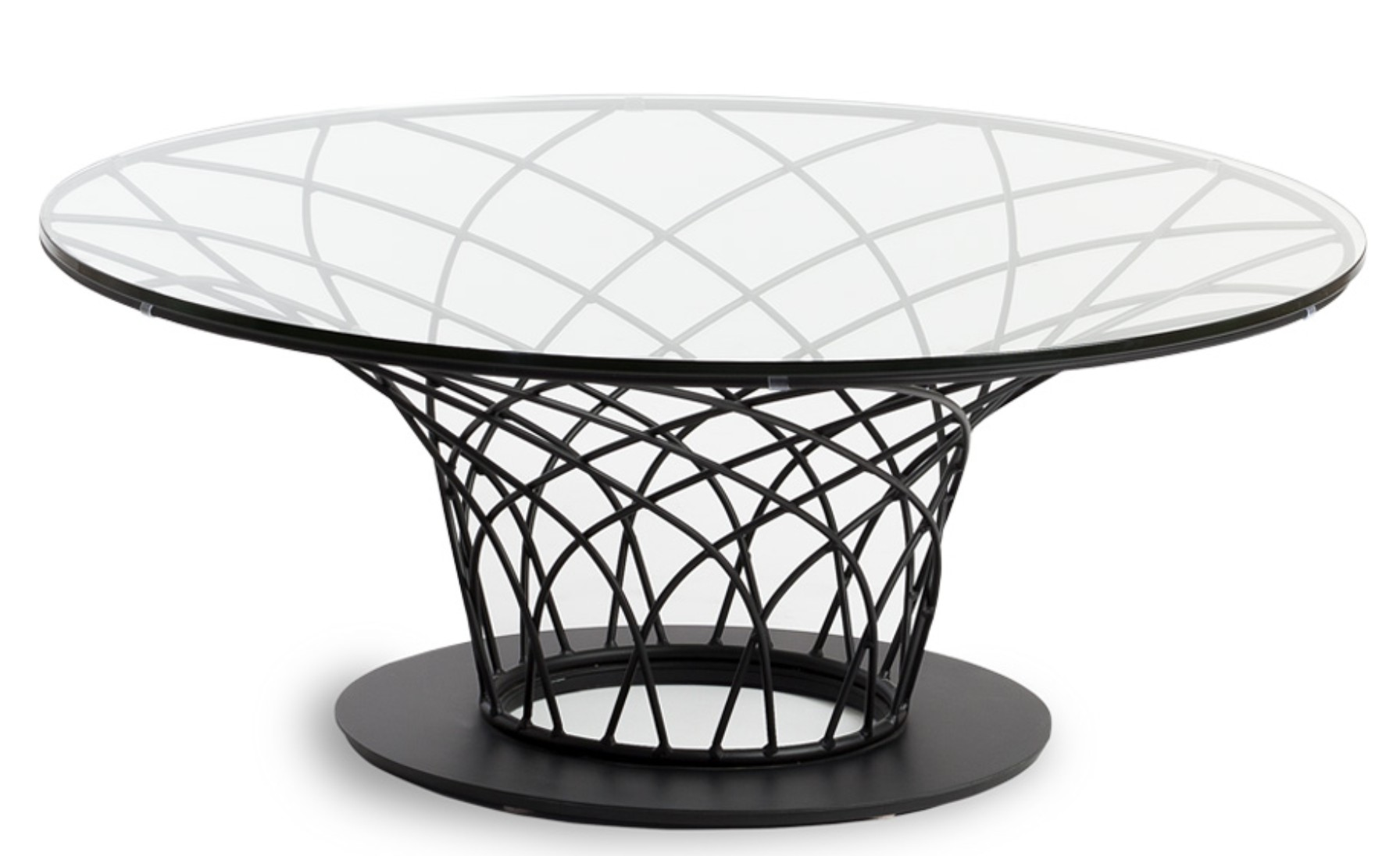 Table basse ronde acier noir et plateau verre tremp pilya - Table plateau verre trempe ...