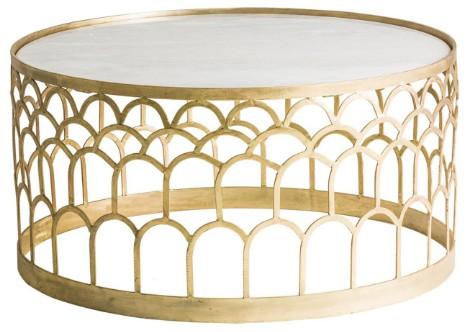 table basse ronde art d co m tal dor et plateau marbre. Black Bedroom Furniture Sets. Home Design Ideas
