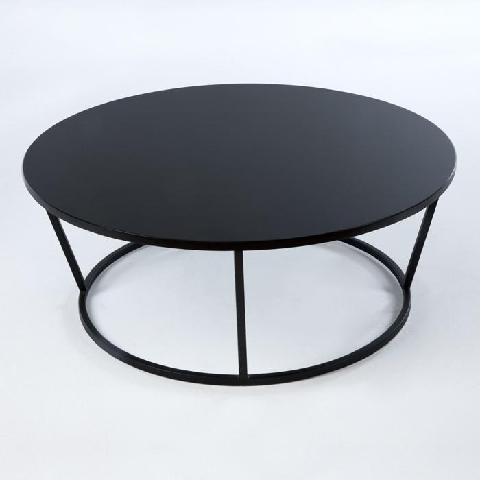 Thai mobilier table basse ronde bois et m tal noirs Table basse metal noir