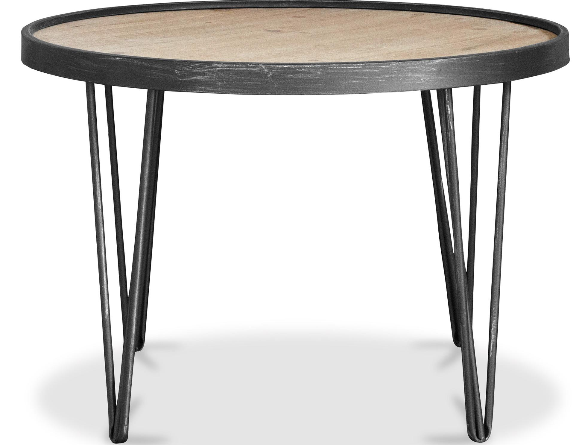 Table basse ronde bois massif et m tal noir kolin for Table ronde bois metal