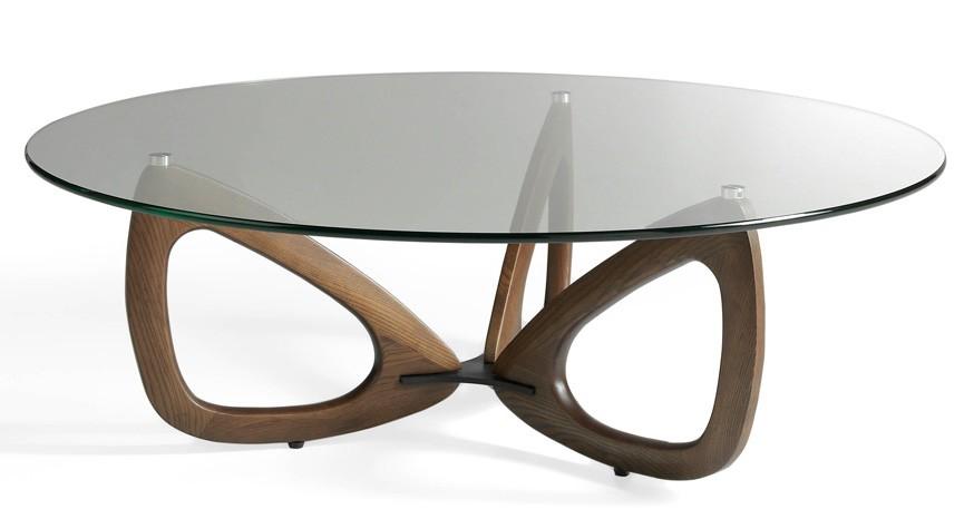 Table basse ronde bois massif et plateau verre tremp tania - Table plateau verre trempe ...